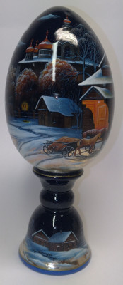 210 mm Russian Winter hand painted on colored wooden Egg with standby (by Tatiana Crafts)