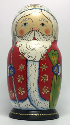 180 mm Santa Claus and Snowmaiden Princess hand painted wooden Matryoshka Doll 5 pcs (by Malutin Studio)