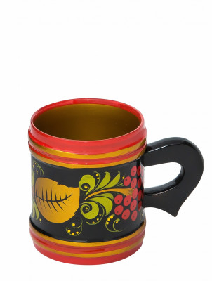 70x60 mm Khokhloma hand painted wooden Mug (by Golden Khokhloma)