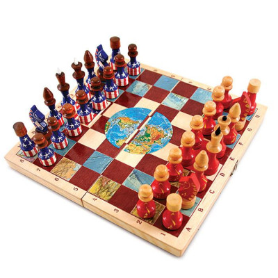 Wooden Chess Board with USSR USA Flags Hand Painted Chess Pieces