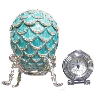92 mm Blue Pine Cone with Clock inside Easter Egg
