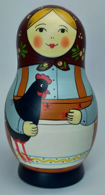 125 mm Mistress with Hen hand painted Traditional Russian Wooden Matryoshka doll 5 pcs (by Igor Malyutin)