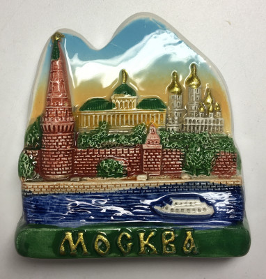 60x60 mm Moscow Kremlin and River Ceramic Fridge Magnet (by Skazka)