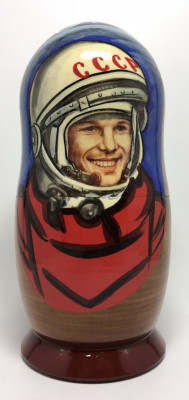 180 mm Yury Gagarin Alexey Leonov and Soviet Cosmonauts Matryoshka Doll 5 pcs (by 3A Studio)
