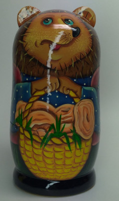 120mm Hedgehog with a Backet of Mushrooms hand painted Matryoshka 3pcs (by Gift Shop)