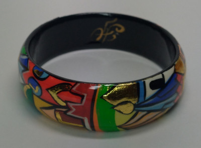 Moscow Snt Basil Cathedral and Kremlin hand painted by Lentuloff on wooden Bracelet (by A Studio)