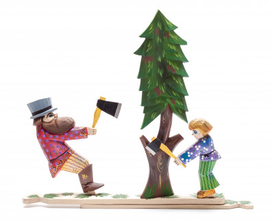 280x235 mm Father and Son Woodcutters Hand Carved and Painted Wooden Toy (by Skazka)