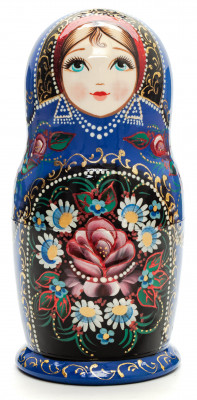 150 mm Zhostovo round hand painted Russian Matryoshka doll 5 pcs (by A Studio)