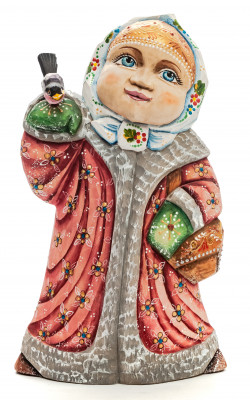 240 mm Girl with a Bullfinch hand painted Wooden Statue (by Karpova Nadezda)