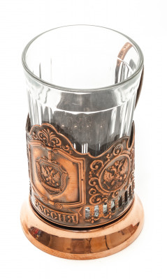 FSS of Russia Pure Copper Tea Glass Holder with Crystal Glass (by Kolchugino)