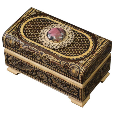 95x55 mm Siberian Patterns hand made Birchbark Jewelry Box with Rhodonite stone (by Maxim Birch)