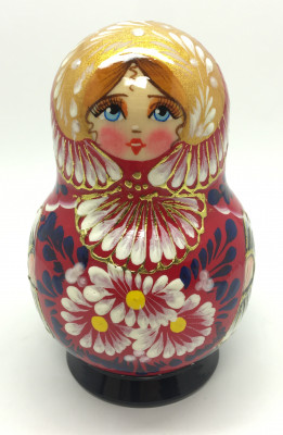 110 mm Daisies on red background handpainted wooden Russian Matryoshka doll 5 pcs round shape