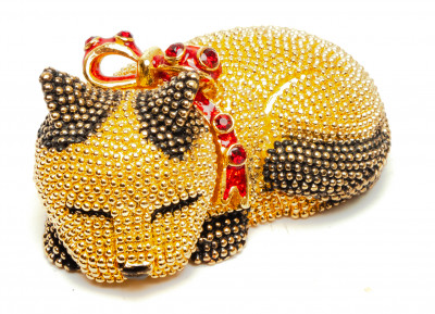 50 mm Small Cat Golden Jewellery Box