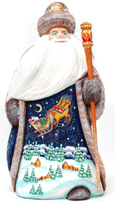 160 mm Santa Claus Hand Carved Wooden Figurine with painted picture Santa Claus flying over the Russian Village