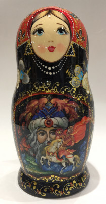 200 mm The Head from Ruslan and Ludmila Fairy tale scenes hand painted wooden Matryoshka doll 5 pcs (by A Studio)