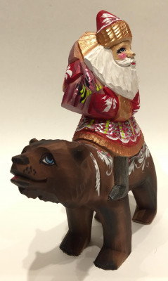 Hand Carved and Painted Santa Claus Riding a Bear