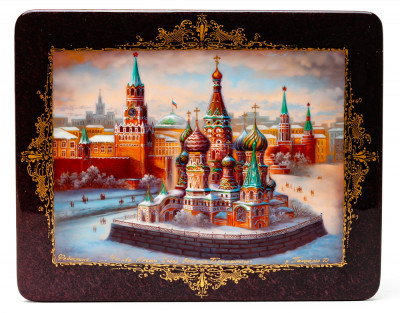 200x160mm Saint Basil Cathedral hand painted lacquered jewelery box (by Panferoff Studio)