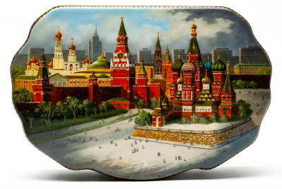 220x150mm Moscow Kremlin hand painted lacquered jewelery box (by Alexander G Studio)