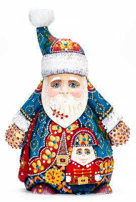 220 mm Santa with Nutcracker handpainted Wooden Carved Statue (by Natalia Nikitina Workshop)