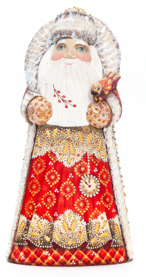240 mm Santa Claus Carved Wood Hand Painted Collectible Figurine  (by Natalia Nikitina Workshop)