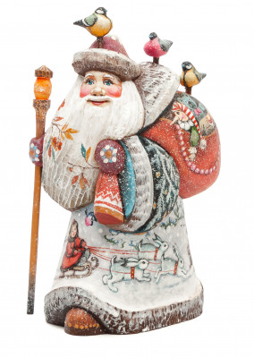 170 mm Santa with a Magic Staff and a Bag with handpainted Children Wooden Carved Statue (by Karpova Nadezhda Studio)