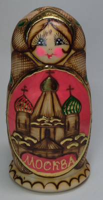 110 mm Moscow Cathedrals hand painted and burnt Russian Matryoshka doll 5 pcs (by Elena Crafts)