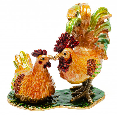 105 mm Cockerel an a Hen Jewellery Box
