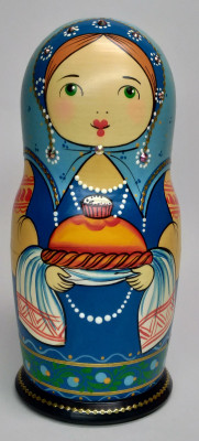 160 mm Mistress with Bread and Salt hand painted Traditional Russian Wooden Matryoshka doll 5 pcs (by Igor Malyutin)