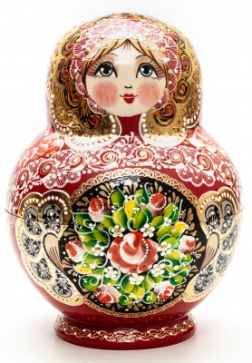 190 mm Red Russian Patterns hand painted Wooden Matryoshka 20 pcs (by Elena Kudryashova)