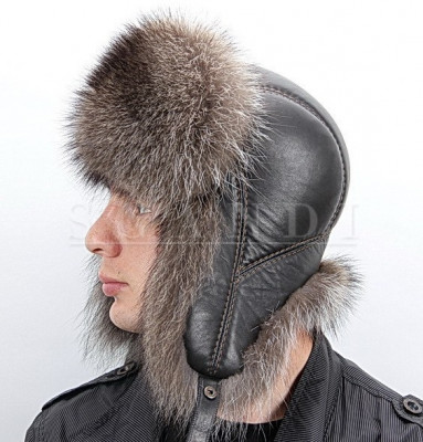 Brown Beige Raccoon Fur Hat with Ear flaps and leather top (by Scandi Furs)