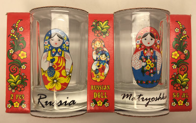 50 ml Russian Matryoshka Decal Faceted Shot Glass set of 2 pcs (by AKM Gifts)