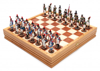 370x370 mm French Invasion of Russia handpainted figures on wooden Chess Board (by Fyodor Chess Studio)