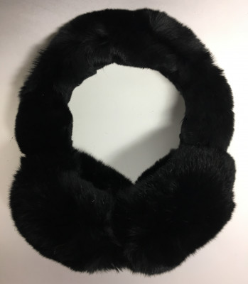 Black Rabbit Hair Earmuff (by Skazka Furs)
