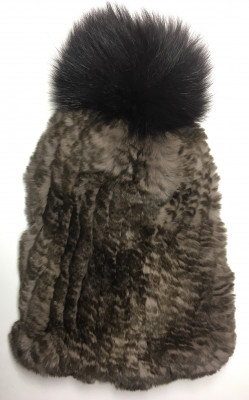 Brown Rabbit Hair Knitted Women Hat (by Skazka Furs)