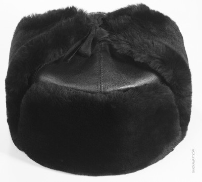 Black Mouton & Leather Ushanka Winter Hat (by Golden Fleece)
