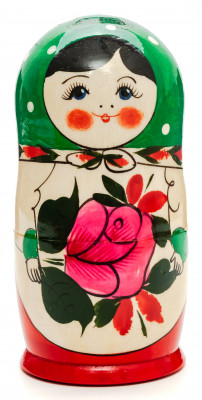 130 mm Green Head Semenovskaya handpainted wooden Matryoshka Doll 6 pcs (by Ivan Studio)