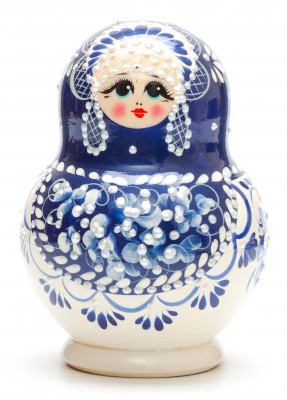 130 mm Blue Gzhel with Bubbles hand painted wooden Matryoshka doll 10 pcs (by Rose Studio)