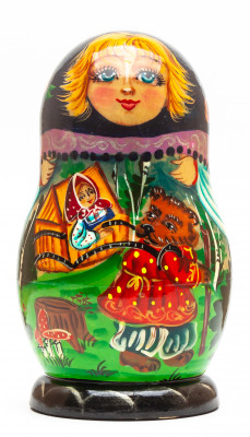 140 mm Masha and The Bear hand painted on Wooden Matryoshka doll 5 pcs (by Valeria Crafts)