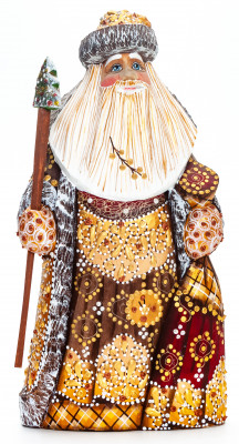 200 mm Santa with a Magic Staff and a Bag handpainted Wooden Carved Statue (by Natalia Nikitina Workshop)