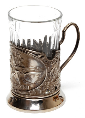Army of Russia Nickel Plated Brass Tea Glass Holder with Faceted Glass (by Kolchugino)