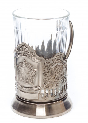 Order of Victory USSR Nickel Plated Brass Tea Glass Holder with Faceted Glass (by Kolchugino)