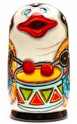 120mm Penguin with the Drum hand painted Matryoshka 3pcs (by Gift Shop)