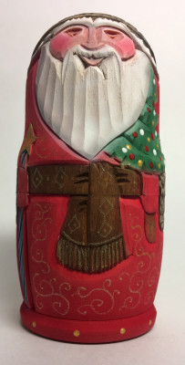 110 mm Santa Claus with Apostle Hand Carved and Painted Matryoshka shape 3 pcs inside (by Sergey Carved Wooden Dolls Studio)