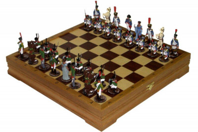 Wooden Chess Board with Tin Soldiers Hand Painted Chess Pieces