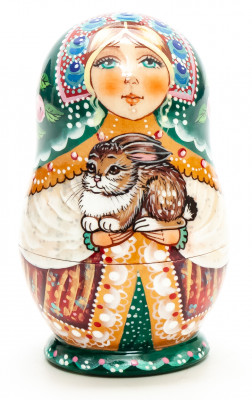 90 mm Girl with a tiny Rabbit hand painted wooden Matryoshka doll 5 pcs (by vasily Crafts)