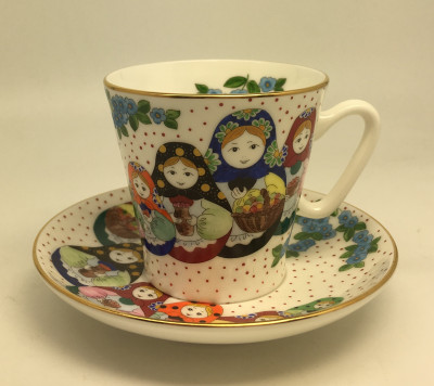 Nesting Dolls Hand Painted Coffee Cup