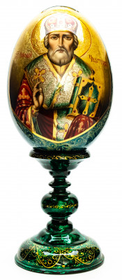 300 mm Saint Nicholas hand painted on wooden egg (by Hamlet Crafts)