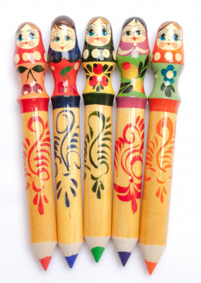 Russian Matryoshka Hand Painted Pencil Set