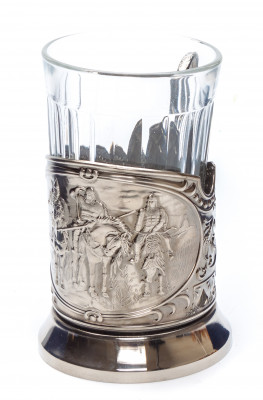 The Three Bogatyrs Nickel Plated Brass Tea Glass Holder with Faceted Glass (by Kolchugino)