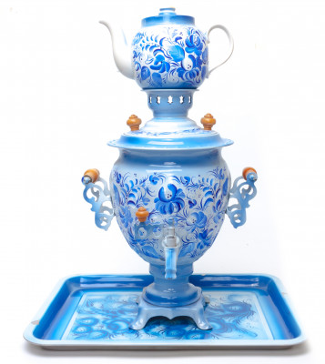 Gzhel Hand Painted Electric Samovar Kettle with Teapot and Tray